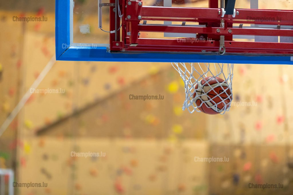 Basketball ball entering net